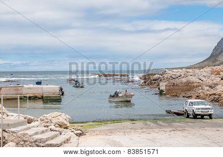 Crayfish Boats Arriving At Kleinmond Harbor