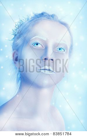 White Woman With Transparent Eyes And White Makeup