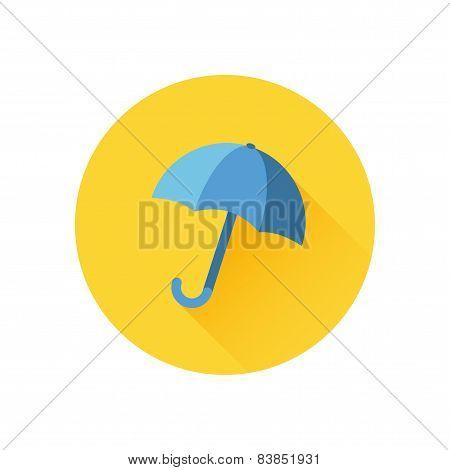 Vector icon of umbrella on yellow background