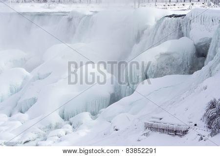American Falls In Winter, Frozen In Ice