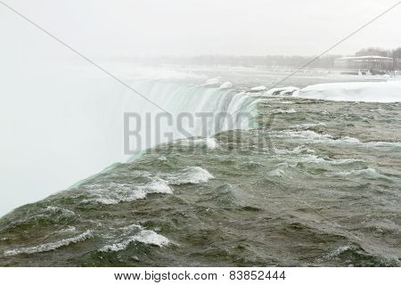Misty, Frozen Top Of Horseshoe Falls
