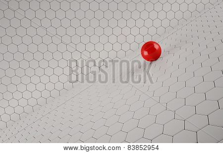 Abstract background of the red Ball on white mesh grid.