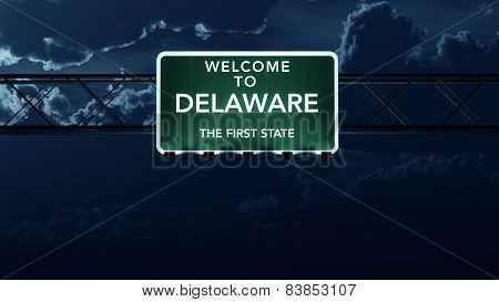 Delaware USA State Welcome to Interstate Highway Sign at Night
