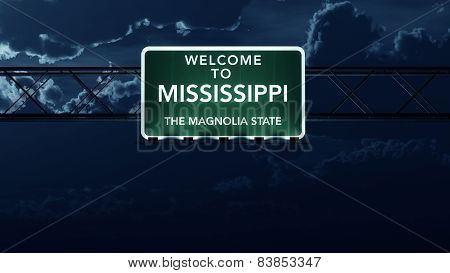 Mississippi USA State Welcome to Interstate Highway Sign at Night