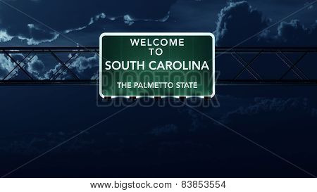 South Carolina USA State Welcome to Interstate Highway Sign at Night
