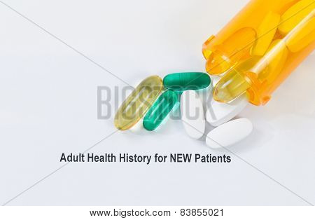 Medicine And Patient Form On White Background
