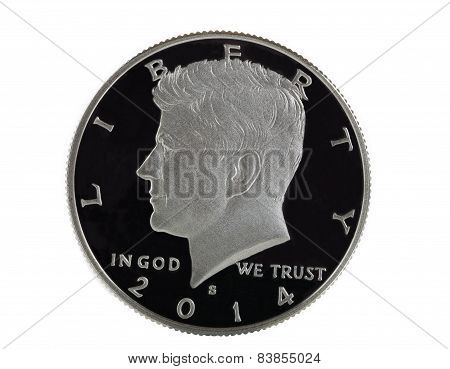 American Silver Half Dollar On White Background