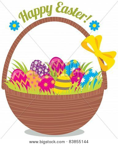 Basket Of Easter Eggs Isolated On A White Background