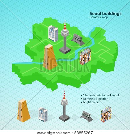 Isometric map of Seoul.Famous buildings of Seoul