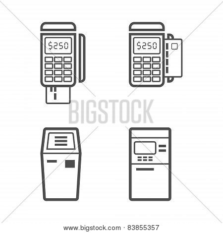 Banking terminal line style vector icon set