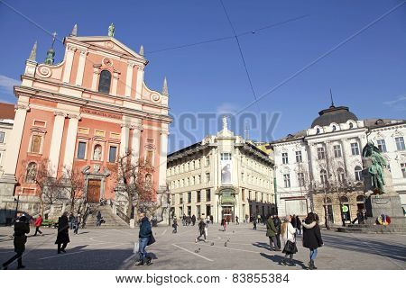 Preseren Square And Franciscan Church, Ljubljana, Slovenia