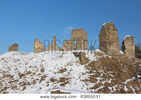 Ruins Of The Castle In Winter.