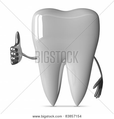 White Tooth Giving Thumb Up