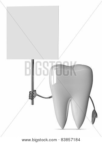 White Tooth With Placard