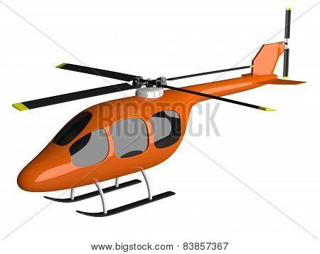 Toy Orange Helicopter Isolated