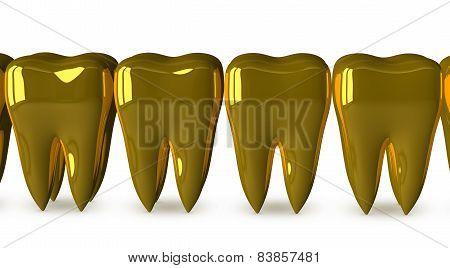 Golden Teeth Isolated