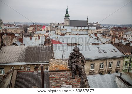 Lviv, Ukraine - February 23, 2015 Lviv Roofs From High Point