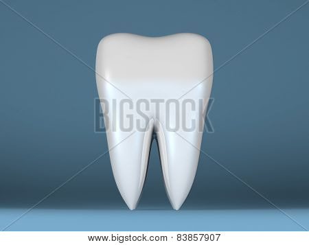 White Tooth On Blue