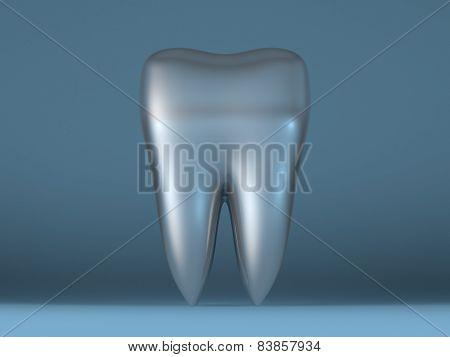 Metallic Tooth On Blue