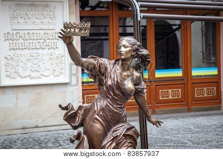 Lviv, Ukraine - February 23, 2015 Statue With Crown In Lviv