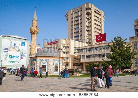 Tourists Walking  Near Ancient Mosque, Izmir, Turkey