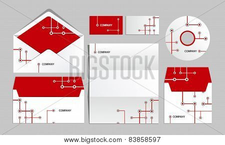 Red corporate metro identity template. Vector company style for brandbook and guideline.