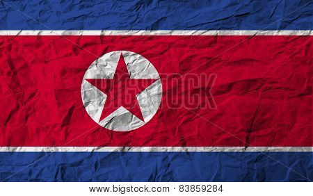 Flag Of North Korea With Old Texture. Vector