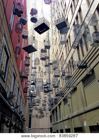 SYDNEY, NSW, AUSTRALIA - January 10, 2015: Many Hanging Cage Between Buildings