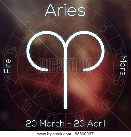 Zodiac Sign - Aries. White Line Astrological Symbol With Caption, Dates, Planet And Element