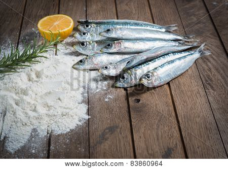 Ingredients for frying sardines