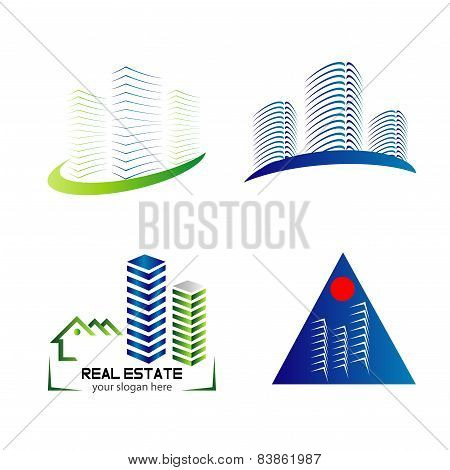 Skyline logo set template design