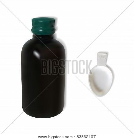 Brown bottle with a white spoon