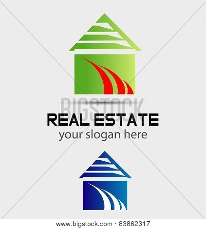 Real estate logo icon design template with house