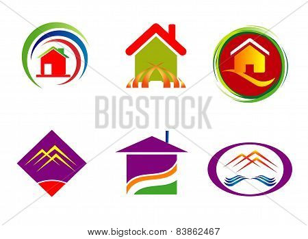 Real estate corporate logo company sign set template