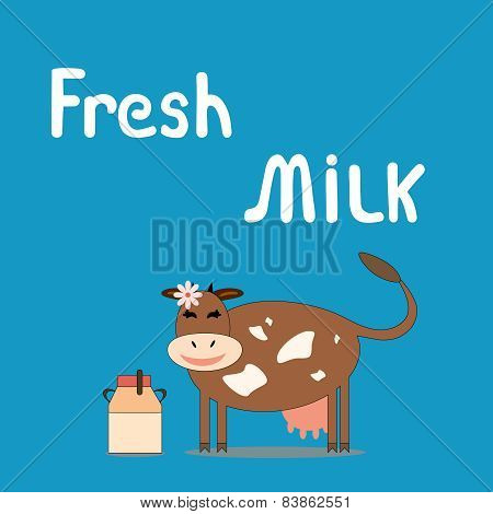 Cow with a can of milk