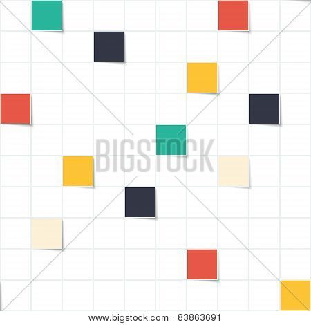 Bright and white squares modern seamless pattern. Colorful small rectangles simple background. Vecto