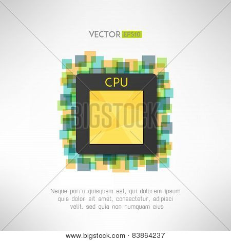 CPU chop icon on technological geometrical background. Vector illustration