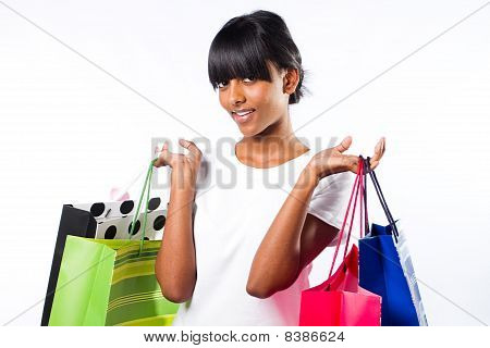 happy shopping indian girl