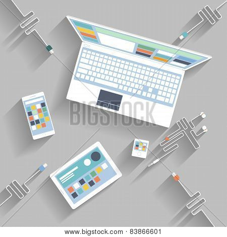 Laptop, digital tablet, smartphone with usb cable