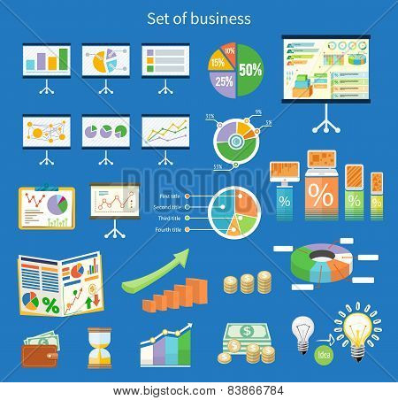Set of flip chart with drawing business charts