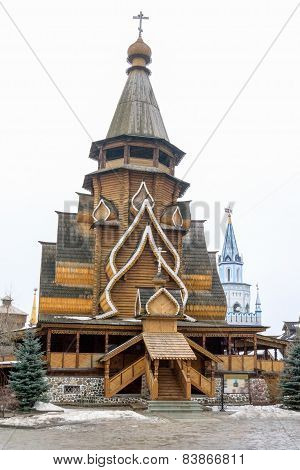 Wooden St Nicolas Church In The Izmailovo Kremlin, Moscow, Russia