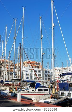 Yachts in the marina, Almerimar.