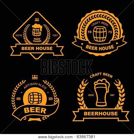 Set of vintage gold badge, logo and design elements for beer house, bar, pub