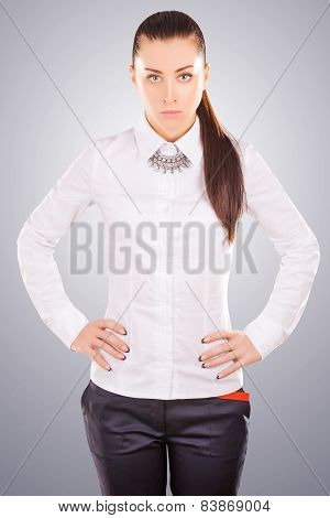 woman wearing fashion necklace over white t-shirt