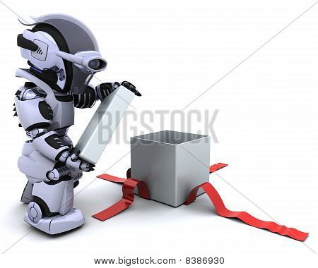 Robot Opening Gift Box With Bow