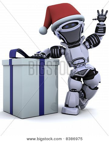 Robot With Christmas Gift Box With Bow