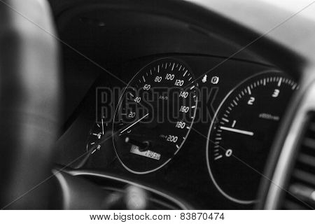 speedometer and dashboard car black and white