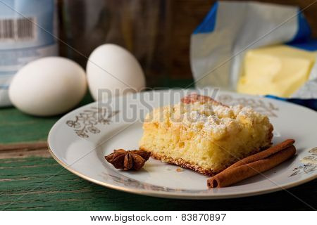 White Plate With Apple Cake And Spice