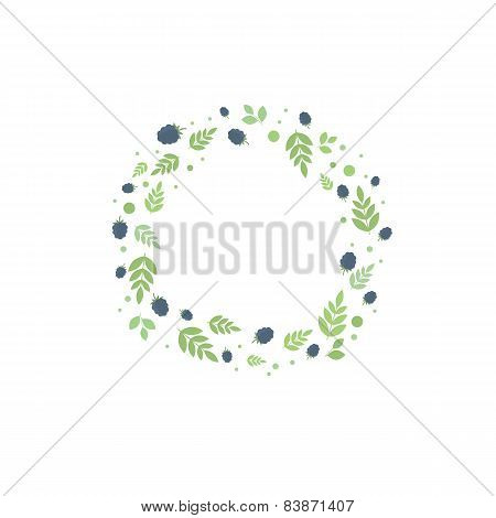 Frame With Leaves And Berries. Vector Template For Design