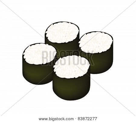 Rice Maki Sushi Roll On White Background